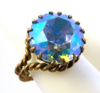 Vintage Aurora Borealis Rhinestone Adjustable Ring.